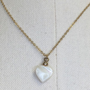 Vintage Jewelry - Vintage 80s Mother of Pearl Gold Filled Necklace